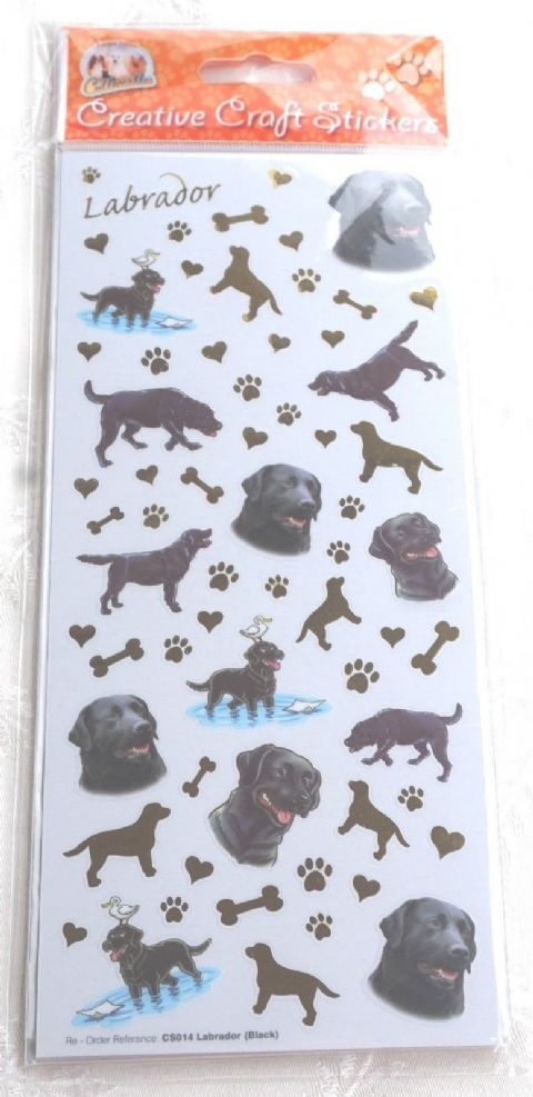 BLACK LABRADOR - CRAFT STICKERS SCRAPBOOKING CARD CRAFT ETC